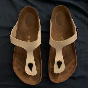White Birkenstocks sandals